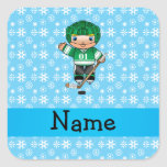 Personalized name hockey player blue snowflakes square stickers