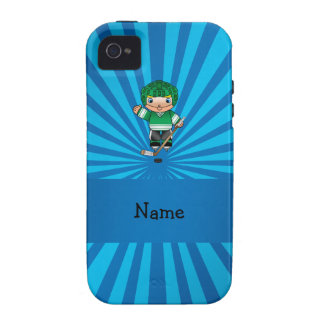 Personalized name hockey player blue sunburst iPhone 4/4S cover