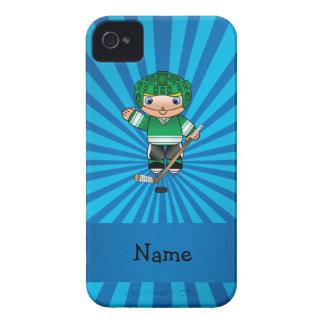 Personalized name hockey player blue sunburst iPhone 4 Case-Mate cases