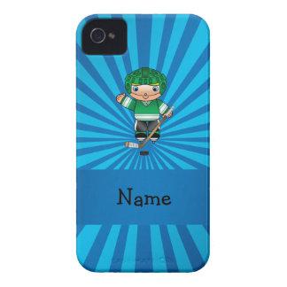 Personalized name hockey player blue sunburst Case-Mate iPhone 4 cases
