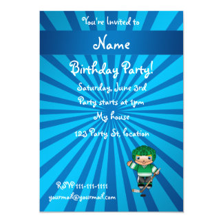 Personalized name hockey player blue sunburst card