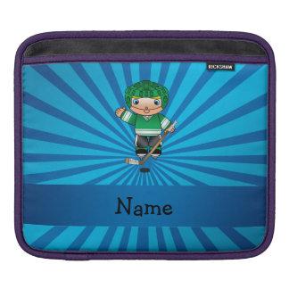 Personalized name hockey player blue sunburst sleeve for iPads