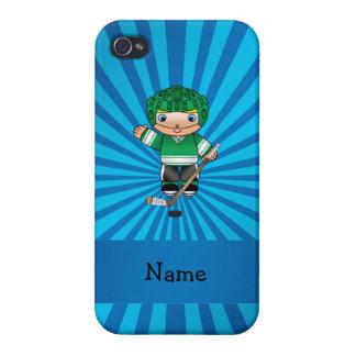 Personalized name hockey player blue sunburst iPhone 4/4S cases