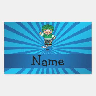 Personalized name hockey player blue sunburst sticker