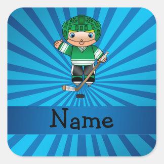 Personalized name hockey player blue sunburst stickers