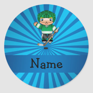 Personalized name hockey player blue sunburst round sticker