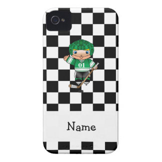 Personalized name hockey player checkers iPhone 4 Case-Mate cases