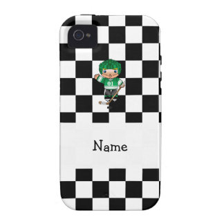 Personalized name hockey player checkers Case-Mate iPhone 4 case