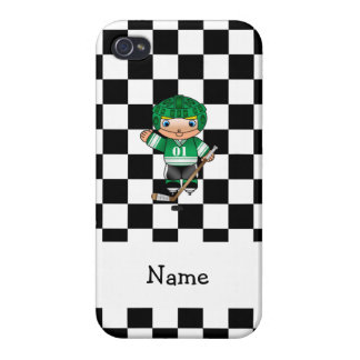 Personalized name hockey player checkers covers for iPhone 4