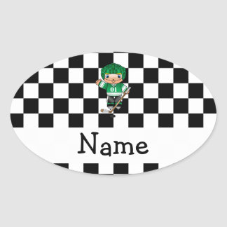 Personalized name hockey player checkers oval stickers