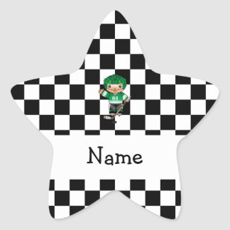 Personalized name hockey player checkers star stickers