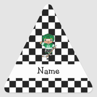 Personalized name hockey player checkers triangle stickers