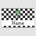 Personalized name hockey player checkers rectangle sticker