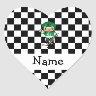 Personalized name hockey player checkers heart sticker