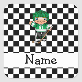 Personalized name hockey player checkers stickers