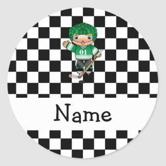 Personalized name hockey player checkers round stickers