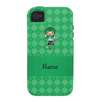Personalized name hockey player green argyle Case-Mate iPhone 4 case