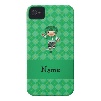 Personalized name hockey player green argyle Case-Mate iPhone 4 cases