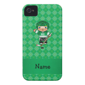Personalized name hockey player green argyle iPhone 4 Case-Mate cases