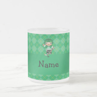 Personalized name hockey player green argyle frosted glass coffee mug
