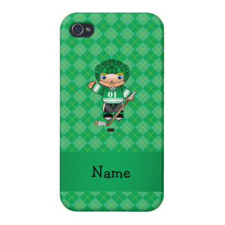Personalized name hockey player green argyle iPhone 4 covers