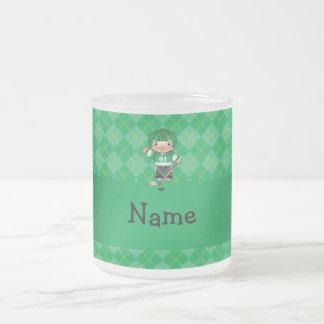 Personalized name hockey player green argyle mugs