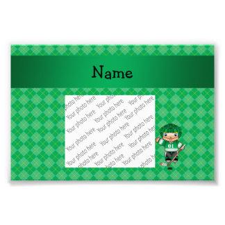 Personalized name hockey player green argyle photo print