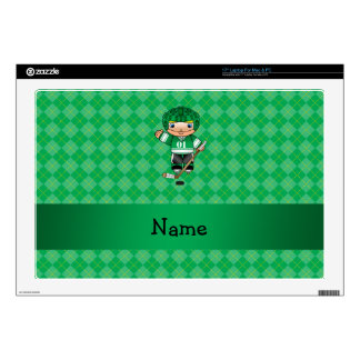 Personalized name hockey player green argyle decals for laptops