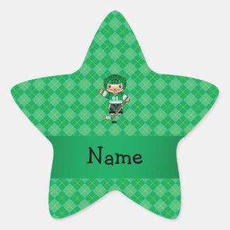Personalized name hockey player green argyle star sticker