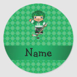 Personalized name hockey player green argyle stickers