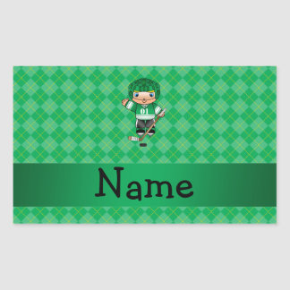 Personalized name hockey player green argyle rectangular stickers