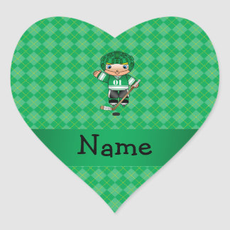 Personalized name hockey player green argyle heart stickers