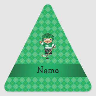 Personalized name hockey player green argyle sticker