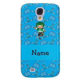 Personalized name hockey player sky blue hockey samsung galaxy s4 cases