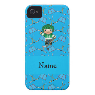 Personalized name hockey player sky blue hockey iPhone 4 cover