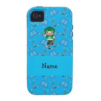 Personalized name hockey player sky blue hockey iPhone 4 case