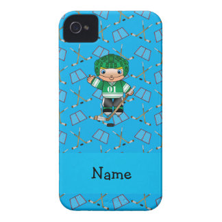 Personalized name hockey player sky blue hockey Case-Mate iPhone 4 cases