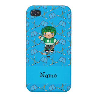 Personalized name hockey player sky blue hockey iPhone 4/4S case