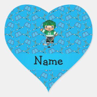 Personalized name hockey player sky blue hockey heart stickers