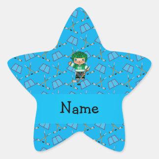 Personalized name hockey player sky blue hockey star stickers
