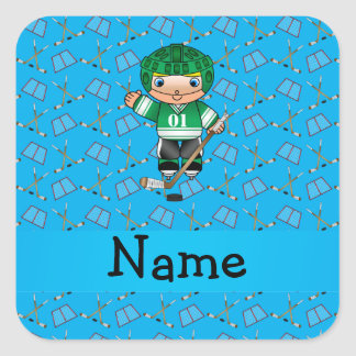 Personalized name hockey player sky blue hockey square sticker