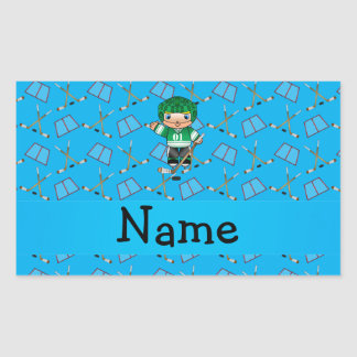 Personalized name hockey player sky blue hockey sticker