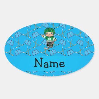Personalized name hockey player sky blue hockey oval sticker