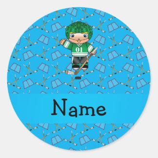 Personalized name hockey player sky blue hockey stickers