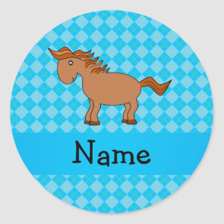 Personalized name horse blue argyle classic round sticker