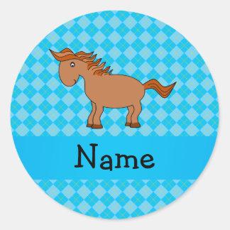 Personalized name horse blue argyle sticker