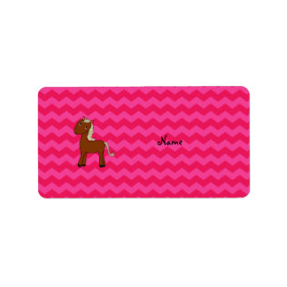 Personalized name horse hot pink chevrons labels
