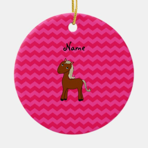 Personalized name horse hot pink chevrons Double-Sided ceramic round christmas ornament