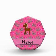 Personalized name horse pink horseshoes acrylic award