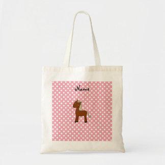 Personalized name horse pink polka dots budget tote bag